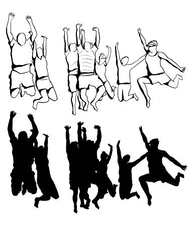 Group Jump Of Joy Flat Sketch Silhouette
