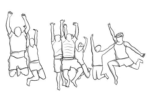 Group Jump Of Joy Flat Sketch