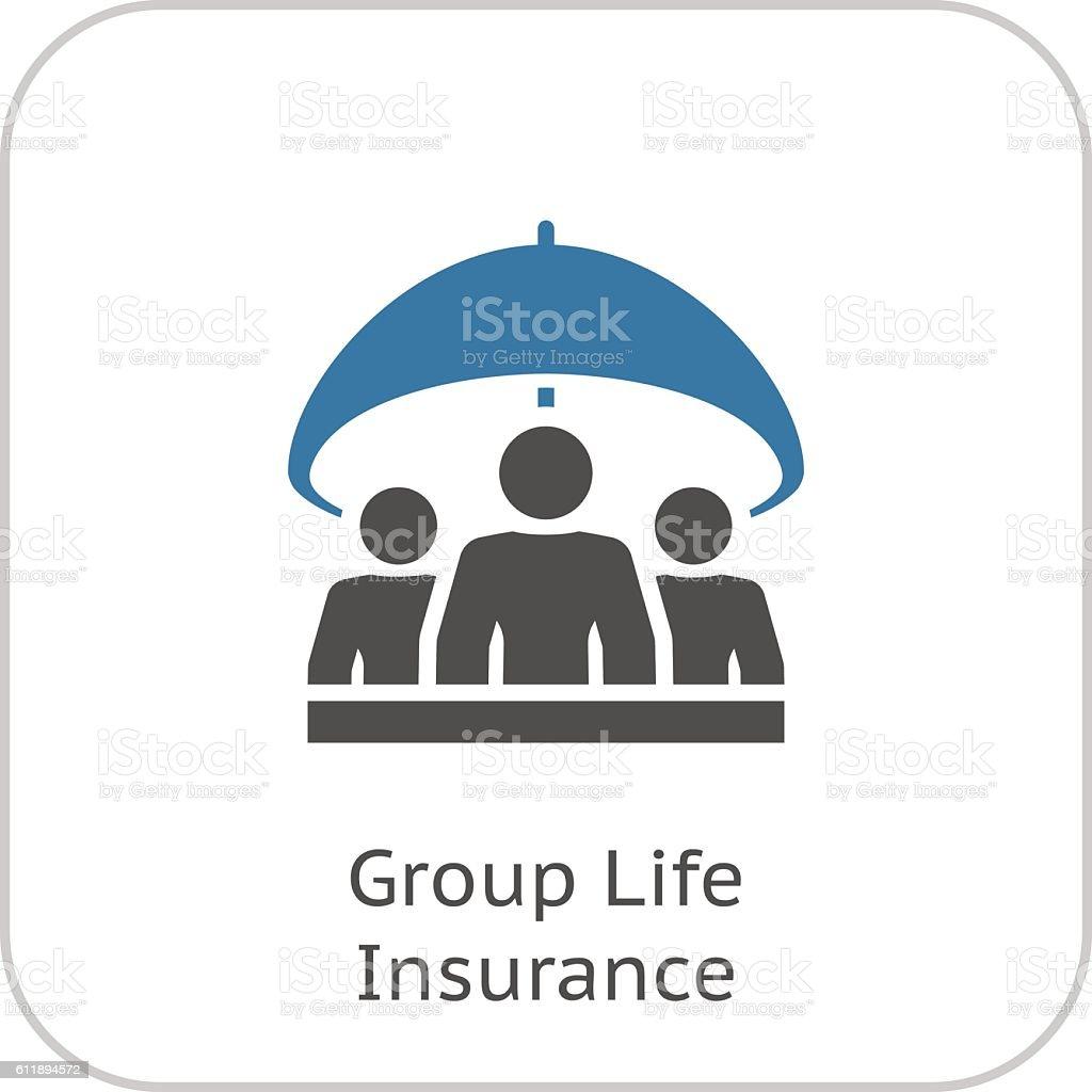 Groupe assurance vie icône. Design plat. - Illustration vectorielle