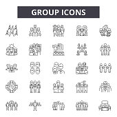 Group line icons for web and mobile. Editable stroke signs. Group  outline concept illustrations