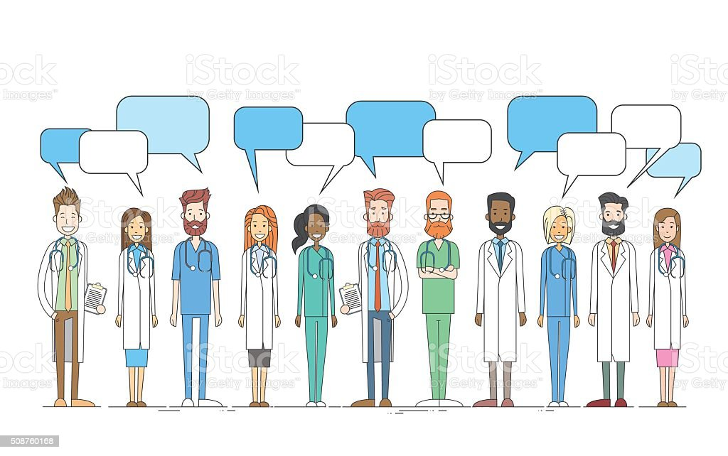 Group Medial Doctors Team Work With Copy Space Chat Box Vector...
