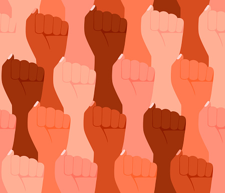 Group multicultural people raised fist, sign protest, seamless background. Strength, strong woman power, justice and unity concept pattern. Vector illustration