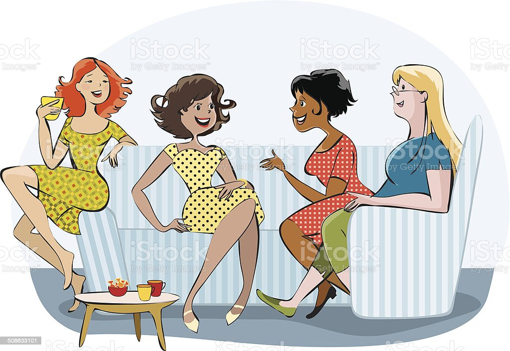 Group of a chatting women vector art illustration