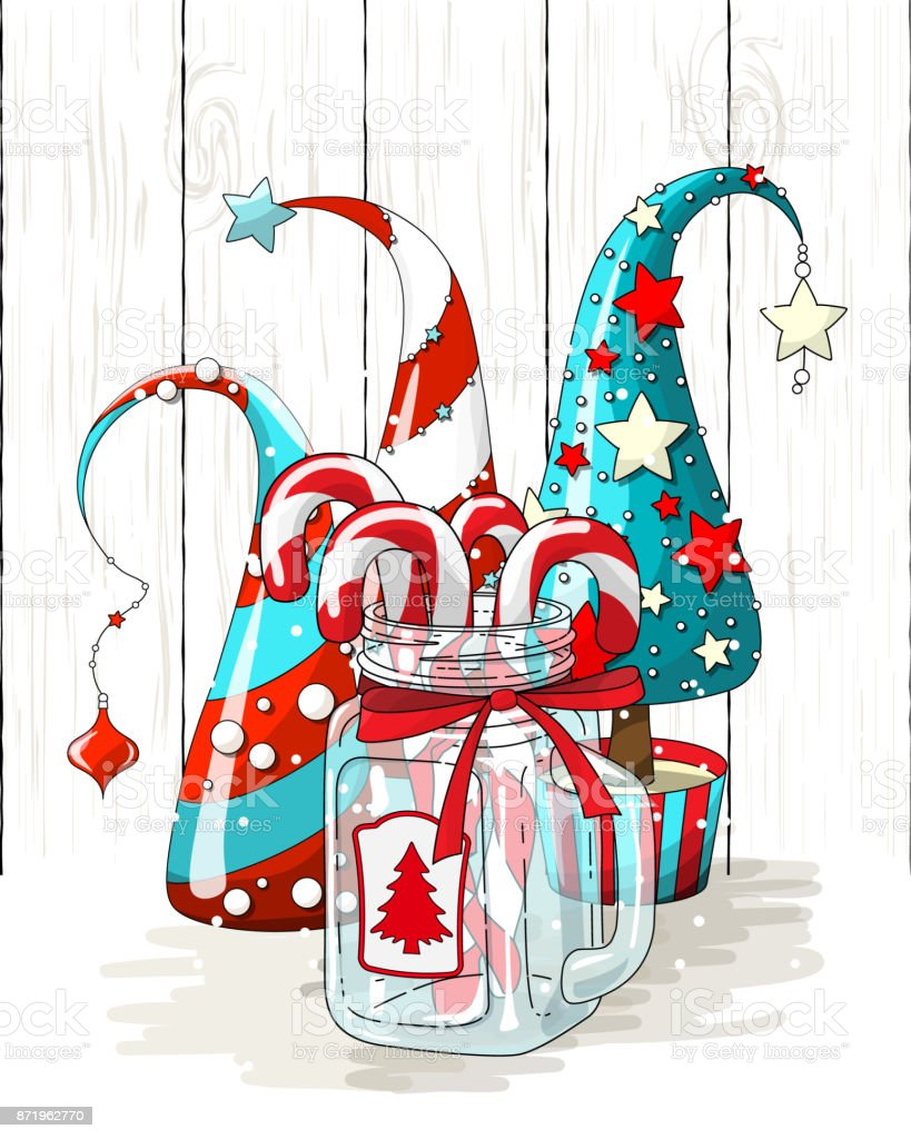 Group Of Abstract Christmas Trees And Glass Jar With Candy Canes ...