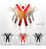 Group of abstract people with their hands up.