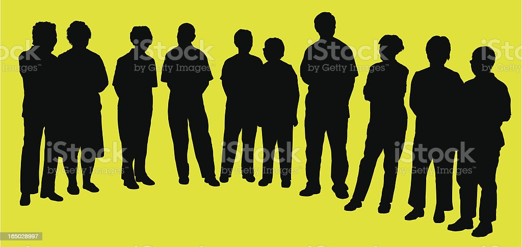 group of adults, Silhouette, vector royalty-free stock vector art