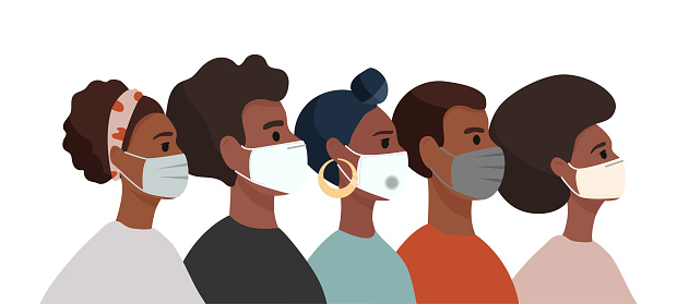 Group of African American people: men and women wearing medical masks to prevent disease, flu, air pollution, contaminated air, world pollution. Colourful cartoon vector illustration in a flat style.