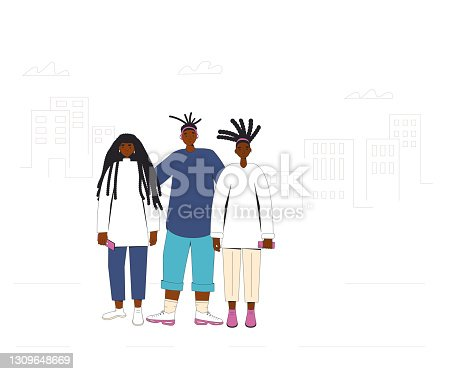 istock Group of african american teenagers standing together. Young female and male friends wearing in casual clothes. Boy and girls with dreadlocks.. Vector line illustration. 1309648669