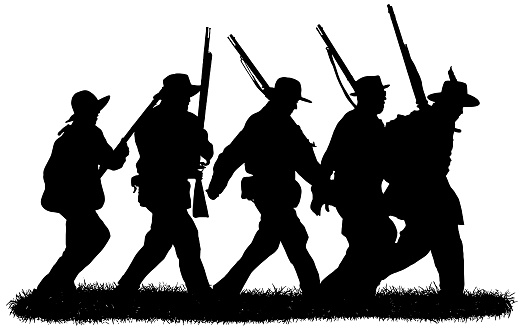 Group of american civil war soldiers silhouettes