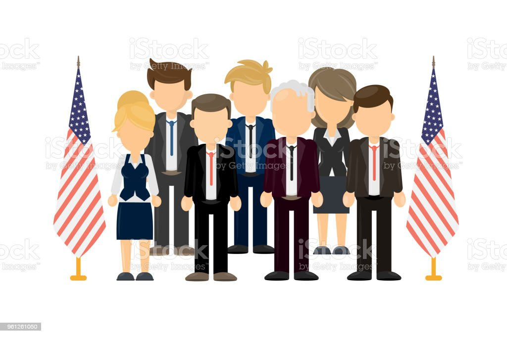 Group of american politicians. vector art illustration