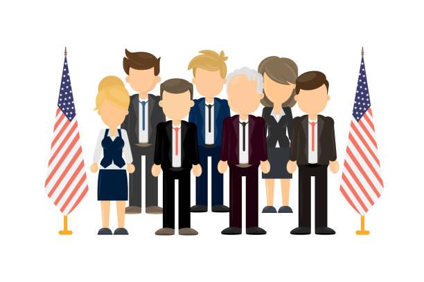ilustrações, clipart, desenhos animados e ícones de grupo de políticos americanos. - político