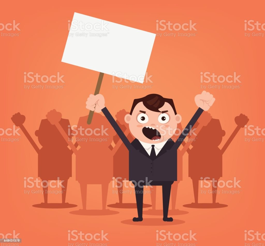 Group of angry men office workers characters protest for rights vector art illustration