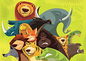 vector illustration of group of angry wild animals gathering