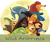 vector illustration of group of angry wild animals…