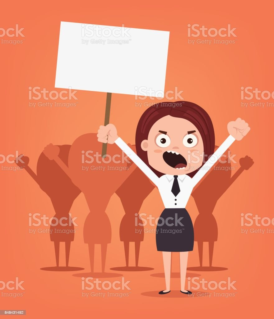 Group of angry women office workers characters protest for rights vector art illustration