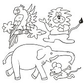 Group of animals, coloring page