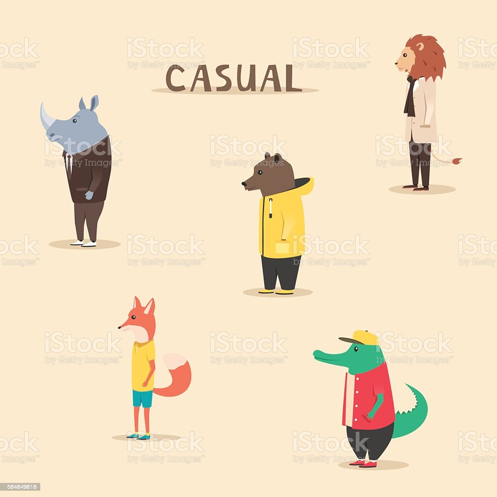 Group of animals in clothes. Casual style. Cartoon vector illustration – Vektorgrafik