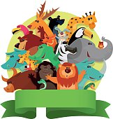 vector illustration of happy group of animals with banner…