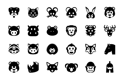 Group of Animals vector illustration icons set. Animal faces, head, smiley, emojis collection. Dog, Cat, Mouse, Rabbit, Pig, Bear, Boar, Hippo, Rhino, Horse isolated symbols