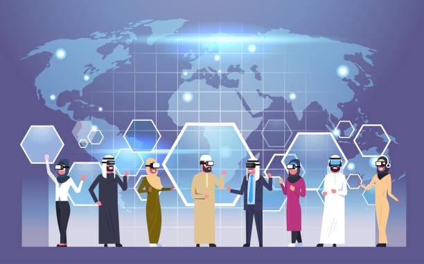 Grupo de empresarios árabes con gafas de realidad Virtual Vr auricular sobre fondo de mapa del mundo - ilustración de arte vectorial