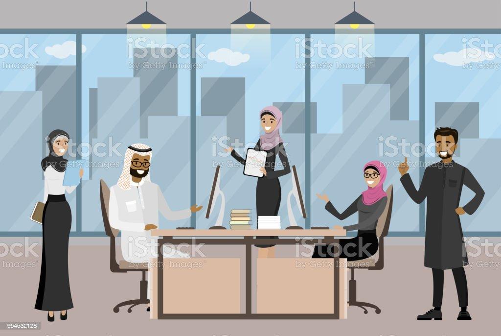 Groupe dhommes daffaires arabes ou bureau travailleurs de bureau