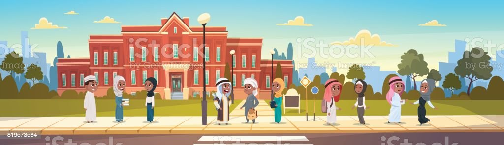 Group Of Arab Pupils Stand In Front Of School Building Primary Muslim Schoolchildren Talking Students vector art illustration