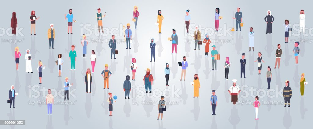 Group Of Arabic People Wearing Traditional Clothes Full Length Arab Business Man And Woman Crowd, Muslim Male And Female vector art illustration