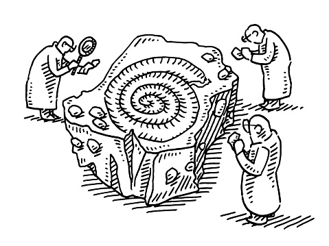 Hand-drawn vector drawing of a Group Of Archaeologists Examining a Fossil. Black-and-White sketch on a transparent background (.eps-file). Included files are EPS (v10) and Hi-Res JPG.