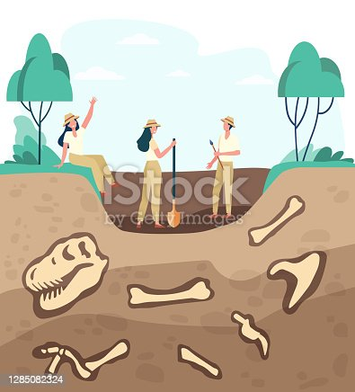 istock Group of archeologists discovering fossils 1285082324