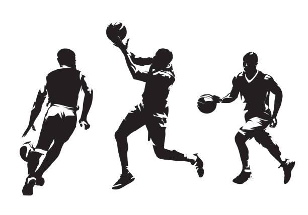 stockillustraties, clipart, cartoons en iconen met groep basketbalspelers, set van geïsoleerde vector silhouetten. teamsport, actieve mensen - sportman