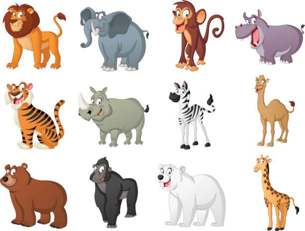 group of big cartoon animals. vector illustration of funny happy animals. - monkey stock illustrations