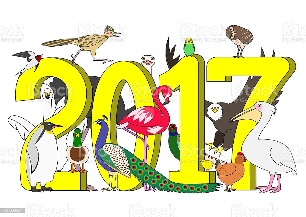 Group of birds with 2017 vector art illustration