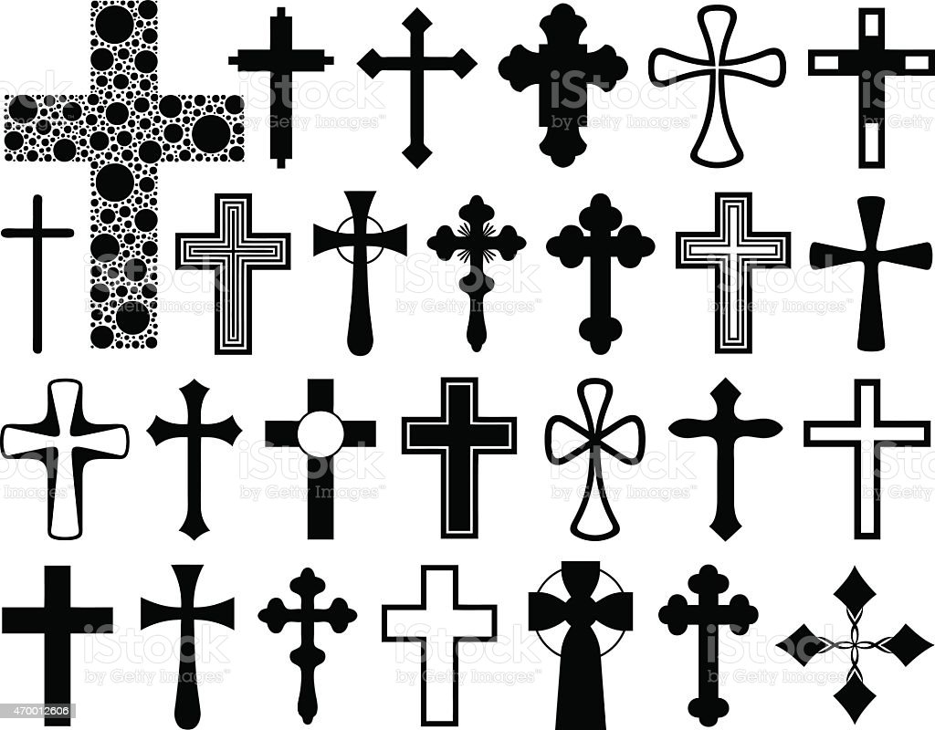 A group of black and white outlines of crosses vector art illustration