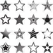 Group of black and white patterned star icons