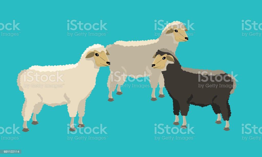 Siyah ve beyaz koyunlar sağlam ve düz renk tasarımı ile grubudur. - Royalty-free Animasyon karakter Vector Art