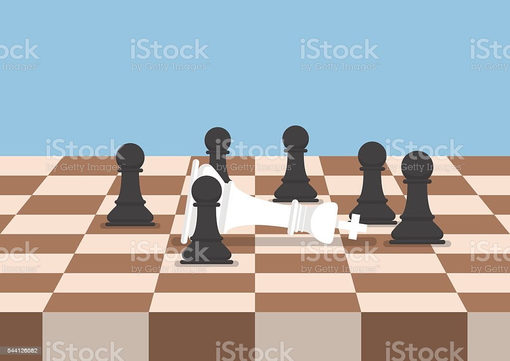 Group of black chess pawns defeat the white king vector art illustration