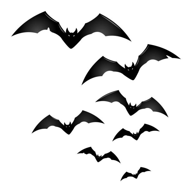 group of black flying bats - bat stock illustrations, clip art, cartoons, & icons