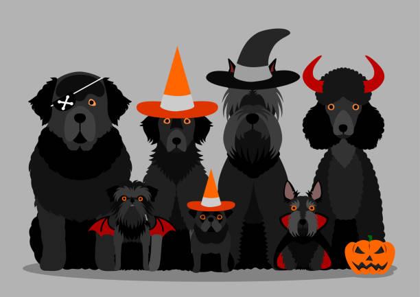 黒いハロウィーン犬のグループ ベクターアートイラスト