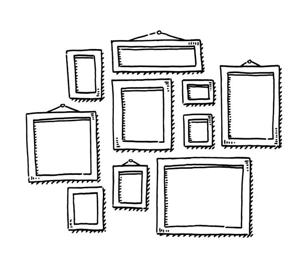 Group Of Blank Picture Frames Drawing vector art illustration
