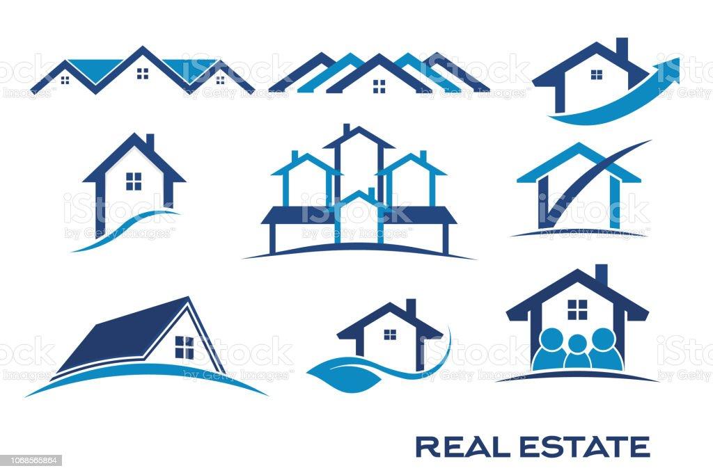 不動産のためのロゴの青の色のグループ設定 ロイヤリティフリー不動産のためのロゴの青の色のグループ設定 - アイコンのベクターアート素材や画像を多数ご用意
