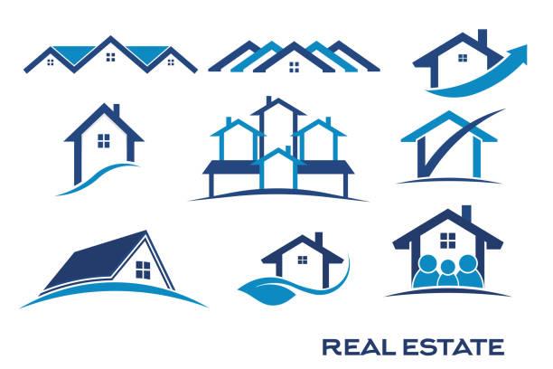 grupa niebieskiego koloru zestaw logo dla nieruchomości - house stock illustrations