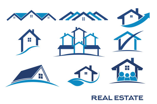 group of blue color set of logos for real estate - architecture clipart stock illustrations
