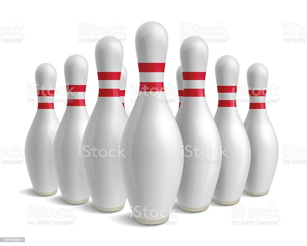 Group of bowling pins. Skittles with red stripes. vector art illustration
