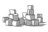 Hand-drawn vector drawing of a Group Of Building Blocks. Black-and-White sketch on a transparent background (.eps-file). Included files are EPS (v10) and Hi-Res JPG.