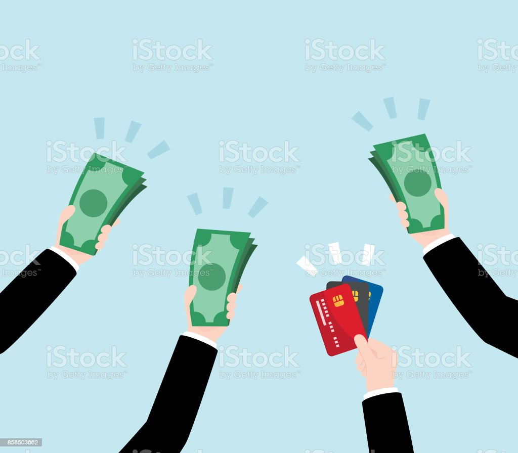 Group of Business Hand Holding Money and Credit Card vector art illustration