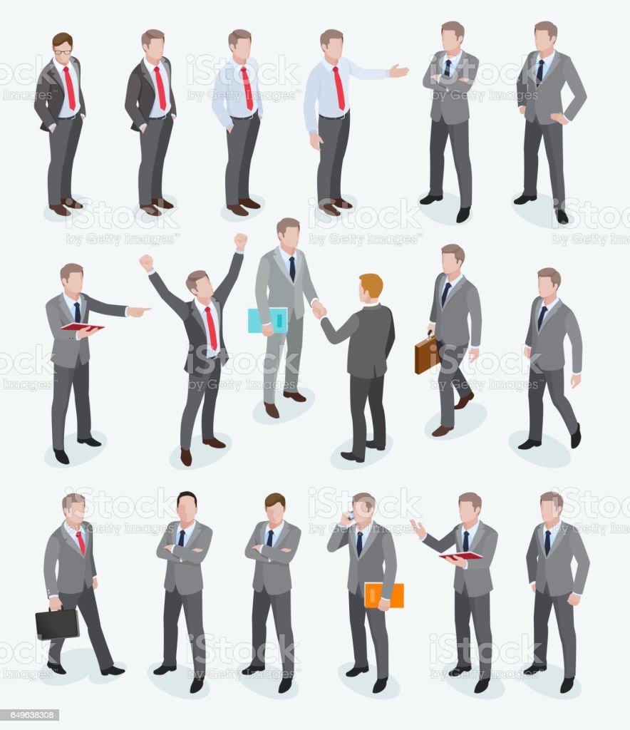 ビジネス男等尺性設計のグループ。 ベクターアートイラスト