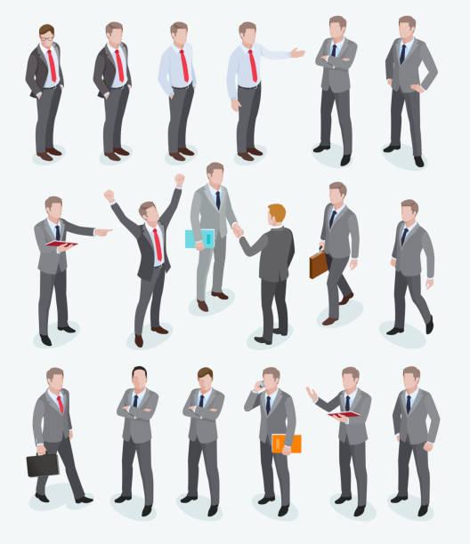 ビジネス男等尺性設計のグループ。 - ビジネスマン点のイラスト素材/クリップアート素材/マンガ素材/アイコン素材