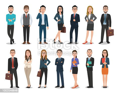 istock Group of business men and business women characters working in office. Isolated on white background 1002046646