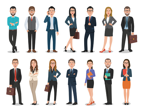 Group of business men and business women characters working in office. Isolated on white background clipart