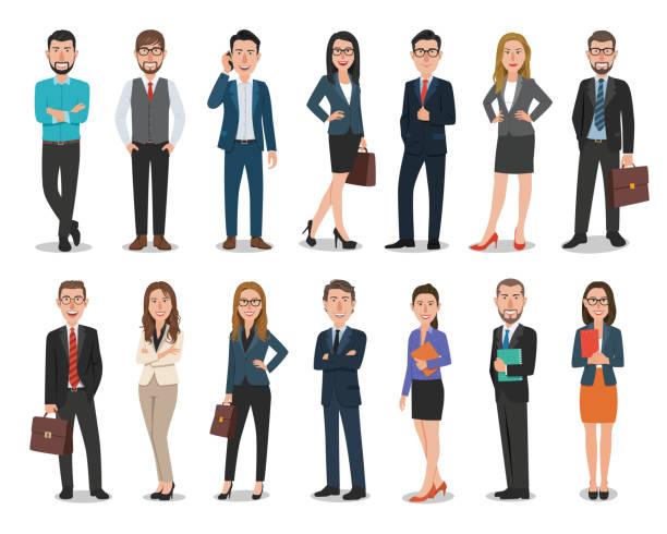 ilustrações, clipart, desenhos animados e ícones de grupo de homens de negócios e personagens de mulheres de negócios trabalhando no escritório. isolado no fundo branco - business man